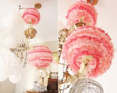 DIY Hot Air Balloon Party Decorations - Buy fringed party lanterns and attach them to wicker basket with ribbon. Voila!