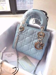 3ee90ad8067d Dior Cyan Lady Dior with Chain Mini Bag(Silver Hardware) Dior Bags