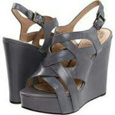 """Vince Camuto Shivona Wedges Blue Gray Wrapped wedge heel. Size 8. Adjustable strap with buckle closure. Approx heel height 4"""" with 1 1/2"""" platform. Leather. Fit true to size, never worn. Vince Camuto Shoes Wedges"""