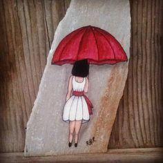 Big Red Umbrella Thanks Pebble Painting, Pebble Art, Stone Painting, River Rock Crafts, Pierre Decorative, Art Rupestre, Art Pierre, Happy Rock, Painted Rocks Craft