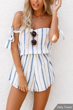 Spring Off-The-Shouder Stripes Romper