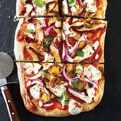 BBQ chicken pizza with fresh mozzarella and pickled jalapeños from Cooking Light Magazine, Jan/Feb 2013