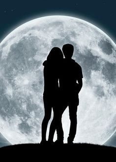 Picture of silhouette of a young couple in love looking at the full moon stock photo, images and stock photography. Couple Silhouette, Silhouette Painting, Young Couples, Couples In Love, Black And White Landscape, Actors Images, Black Wallpaper, Digi Stamps, Love Pictures