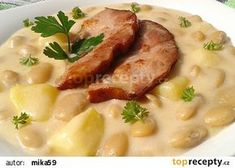Bílé fazole s bramborami a smetanou recept - TopRecepty.cz Czech Recipes, Ethnic Recipes, What To Cook, Food 52, Bon Appetit, Risotto, Recipies, Beans, Food And Drink