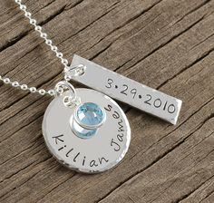 Personalized Necklace - hand stamped jewelry - Name - date - Perfect for new mom - anniversary - wedding - engagement - new baby. $38.00, via Etsy.