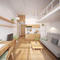 Condo Interior Design, Small Apartment Interior, Condo Design, Studio Apartment Decorating, Apartment Layout, Tiny House Design, Apartment Design, Room Design Bedroom, Home Room Design