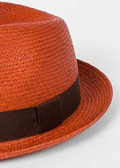 Men s Burnt Orange Panama Straw Hat Trilby Hat db2a493a3e21