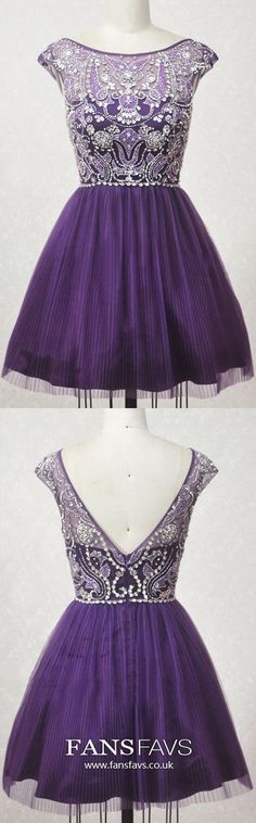 Purple Homecoming Dresses Modest, Short Prom Dresses for Teens, A-line Sweet Sixteen Dresses Open Back, Tulle Graduation Party Dresses Beading Formal Dresses For Teens, Dresses Short, Trendy Dresses, Elegant Dresses, Cute Dresses, Beautiful Dresses, Vintage Homecoming Dresses, Prom Dresses 2018, Tulle Prom Dress