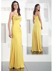 Jersey One-shoulder Hand-Beaded Bodice Long Prom Dress