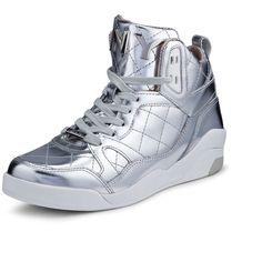 A must have metallic leather high-top sneaker featuring DKNY details on tongue. Imported. Upper: 100% Leather; Lower: 60% Rubber, 40% EVA; Interior: 50% Leathe…