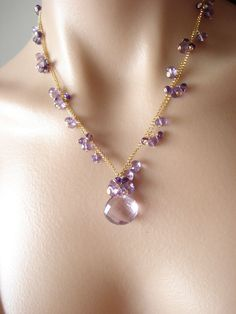 Items similar to SALE Pink dream necklace----Pink amethyst,purple amethyst goldfilled necklace on Etsy Bead Jewellery, Crystal Jewelry, Wire Jewelry, Jewelry Crafts, Gemstone Jewelry, Beaded Jewelry, Jewelry Necklaces, Unique Jewelry, Handmade Jewelry Designs