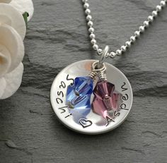 Personalized hand stamped cup of love with birthstones - Mommy necklace.