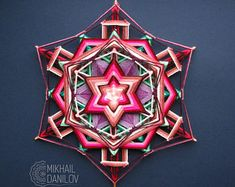 "Woven mandala ""Lucky Star"" free shipping yarn mandala huichol art ojo de dios handmade wall decor hanging colorful eye of god indian cosmic"