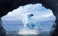 Arte, animal, caballo, rock, spray, agua