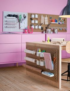 Perfect for staying organized in any workspace, these SKADIS pegboards and organizational system  --- 20 Artist + Creatives Live/Work Space + Storage Ideas from Ikea | Poppytalk