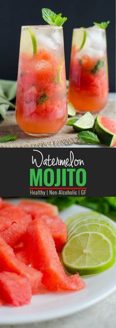Watermelon Mojito Recipe:  give refreshing twist to fresh watermelons. It is healthy, naturally sweetened and non-alcoholic drink - can easily turned into alcoholic drink if you want to | watchwhatueat.com