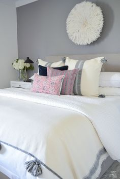Fall Bedroom Tour black and white pom pom throw and pillows white hotel bedding pink cordoba pillow fur stool black and brass task lamps-5