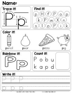 Alphabet Worksheets by A Dab of Glue Will Do Letter P Worksheets, Letter P Activities, Alphabet Activities Kindergarten, Preschool Letters, Alphabet Worksheets, Jolly Phonics Activities, Kids Worksheets, Handwriting Worksheets, Preschool Literacy