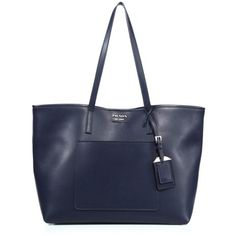 Prada City Leather Tote ($1,390) ❤ liked on Polyvore featuring bags, handbags, tote bags, totes, black, navy blue leather tote, navy leather handbag, navy tote bag, prada handbags and handbags totes