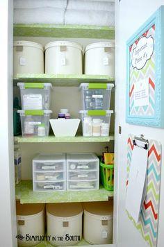 Hall Closet Organization: small home / BIG IDEAS - Simplicity in the South Hall Closet Organization, Bathroom Closet Organization, Organization Hacks, Organizing Ideas, Organising, Organized Bathroom, Organized Office, Organizing Life, Bathroom Storage