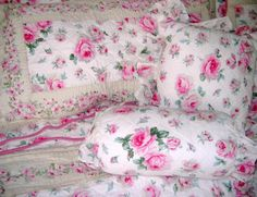 Image detail for -Shabby PINK ROSES on Pale Yellow 11-PC RUFFLED Cotton Queen Chic QUILT ...