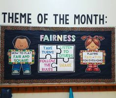 PBIS Theme of the Month: Fairness School community, monthly theme, bulletin board ideas Counselor Bulletin Boards, Elementary Bulletin Boards, Bulletin Board Letters, Classroom Bulletin Boards, Classroom Ideas, Classroom Routines, Classroom Crafts, Classroom Displays, School Counselor Office