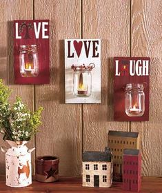 Set of 3 Country Mason Jars Tea Light Sconces Live Love Laugh Inspirational Wall Plaque Decor Country Living Decor, Country Chic Decor, Country Charm, Mason Jar Crafts, Mason Jar Diy, Wall Plaques, Wall Clocks, Glass Jars, Accent Decor