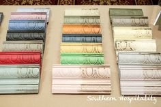 They had an array of moldings with several Annie Sloan chalk paint colors, demonstrating them with paint and wax. We learned a lot about working with waxes.