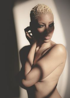 Black woman with blonde hair