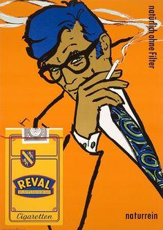 Podrá ser perjudicial para la salud, pero esta ilustración para Cigarrillos Reval, no lo es. | Reval Cigaretten, 1969.
