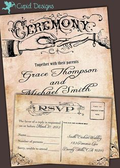 Vintage wedding invitation and RSVP card suite. by CupidDesigns, $450.00