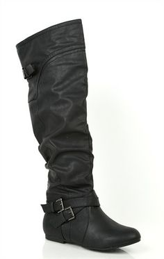 Black Faux Leather Cuff Slouchy Womens Flat Over The Knee Thigh ...
