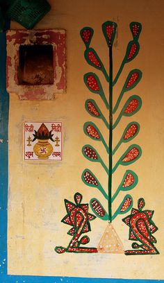 Decorated house in Tunda, Rabari village, India. Photo by Retlaw Snellac.