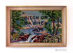 GABARDOX http://www.gabardox.jimdo.com/  embroidery, broderie, cross stitch, canevas, art, deco, design, decoration, cadre, frame, gabardox, biche, bitch