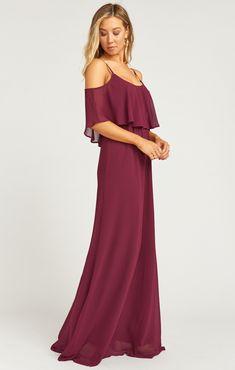 59541229adc78 Caitlin Ruffle Maxi Dress ~ Merlot Chiffon   Show Me Your MuMu