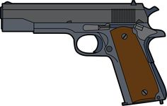 Colt 45 - M1911 by @ray4ad, Colt 45 caliber military issue handgun, on @openclipart