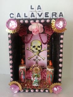 Loteria Calavera Dia de Los Muertos Shrine by littlesugarbox, $22.00