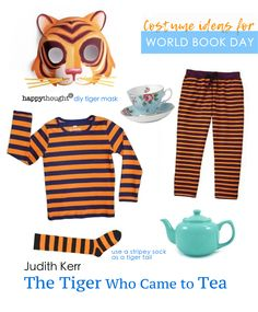 World Book Day easy costume ideas. Dress up as a character from one of your favourite books. Babar outfit idea, Lion dress up idea, Giraffe costume, easy fox mask and Bear mask and costume idea to dress up for world book day.