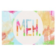 "Skye Zambrana ""Meh"" Rainbow Watercolor Decorative Door Mat"