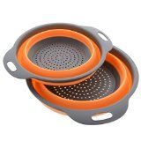 #9: Kitchen Maestro Collapsible Silicone Colander/Strainer. Includes 2 Sizes 8 and 9.5 inch.