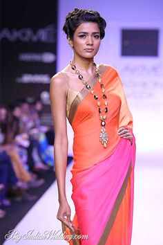 Beautiful multi-color #Saree by Mandira Bedi https://www.facebook.com/MandiraBediDesigns