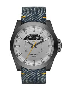 This Diesel Arges watch is fitted with a quartz movement. It fastens a blue fabric strap and has a grey dial. The watch has a date function. Diesel Watches For Men, Black Diesel, Custom Design Shoes, Watch Sale, Color Azul, Cool Watches, Men's Watches, Luxury Watches, Blue Denim