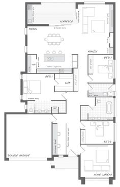 The Avoca - the Abode Collection. This wide home has ample space and a flowing open plan. Embrace the freedom this home provides. Dream House Plans, Small House Plans, House Floor Plans, Building Design, Building A House, Architectural Floor Plans, House Ideas, Timber House, Concept Home