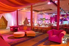 Tangerine and Fuscia Party lounge