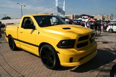 The Ram 1500 Rumble Bee Concept was officially unveiled during the Woodward Dream Cruise, around 10 a. at the Chrysler Group display. Hot Rod Trucks, Ram Trucks, Dodge Trucks, Dodge Ram 1500, Bee, Concept, Vehicles, Cotton Socks, Backyard Landscaping