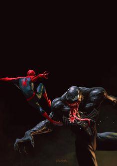 Spider-Man vs Venom by Petr Stovik Spiderman Pictures, Spiderman Art, Batman Vs Superman, Amazing Spiderman, Spiderman Poses, Hq Marvel, Marvel Dc Comics, Marvel Heroes, Marvel Villains
