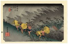 Hiroshige-Sudden rain Shono Station