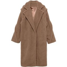 Longline Teddy Coat ($159) ❤ liked on Polyvore featuring outerwear, coats, longline wool coat, brown coat, leather-sleeve coats, faux coat and wool coats
