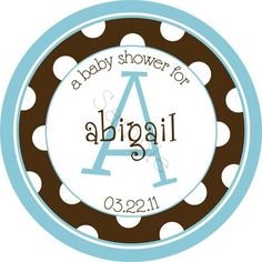 Trendy Polka Dot Monogram design (great for almost any occasion!).  Personalized stickers by partyINK.
