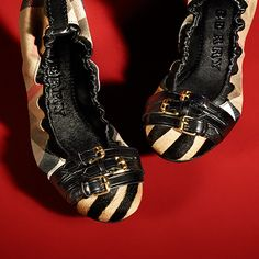 Check and animal print ballerinas from the Burberry A/W13 shoe collection